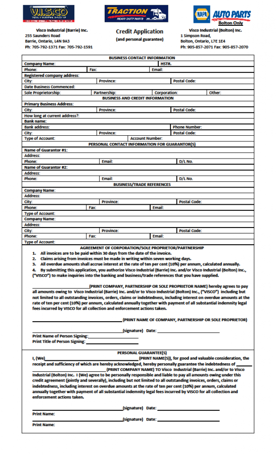 Customer Credit Application 2015